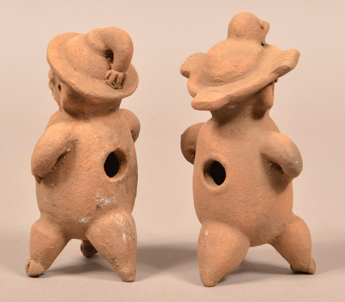 "2 Terra-Cotta, Meso-American Figurines of Men 7"" Tall - 3"