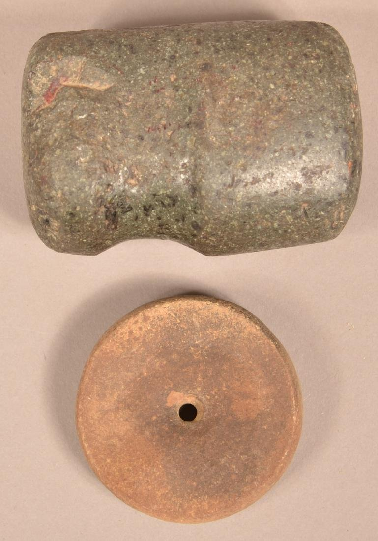 2 Stone Artifacts - Ancient 3/4 Groove Hammer and