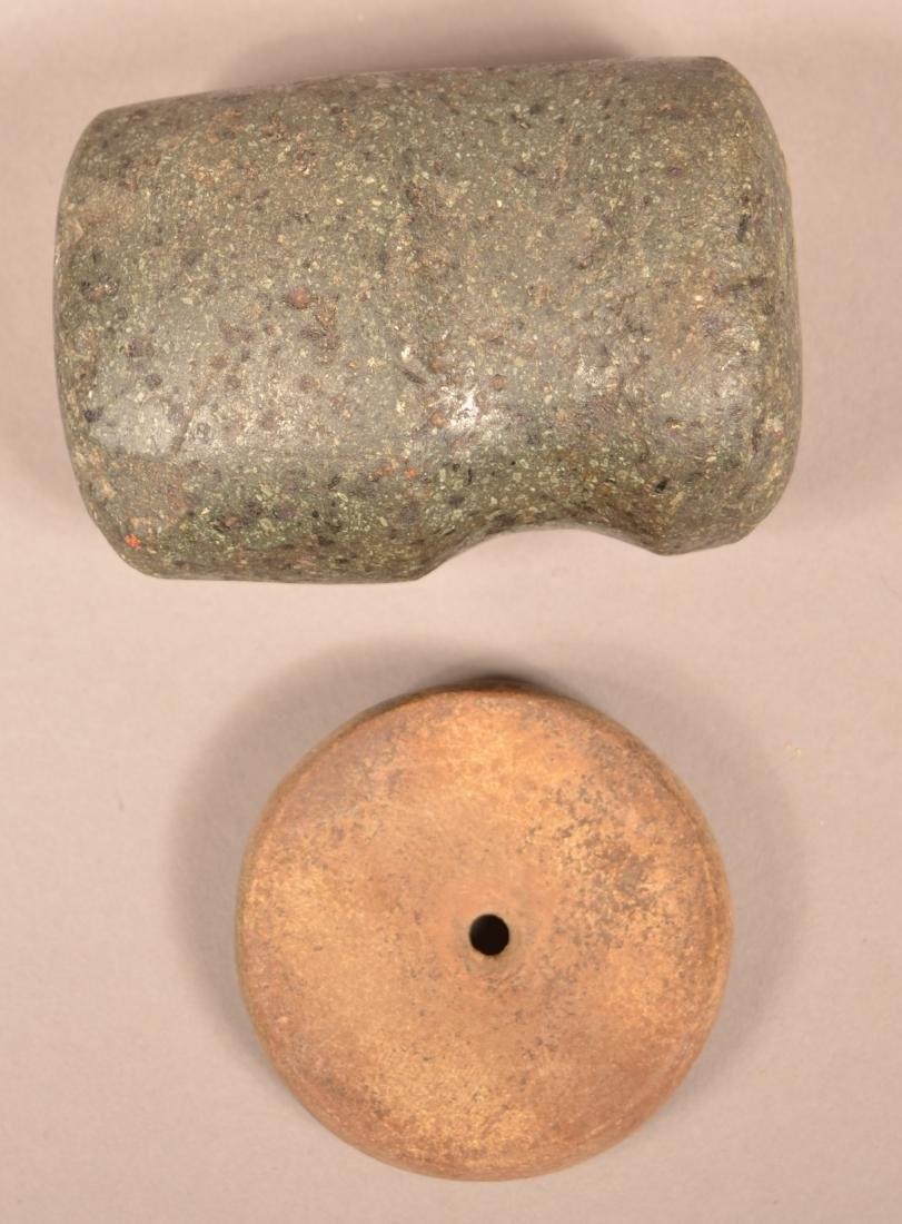 2 Stone Artifacts - Ancient 3/4 Groove Hammer and - 2