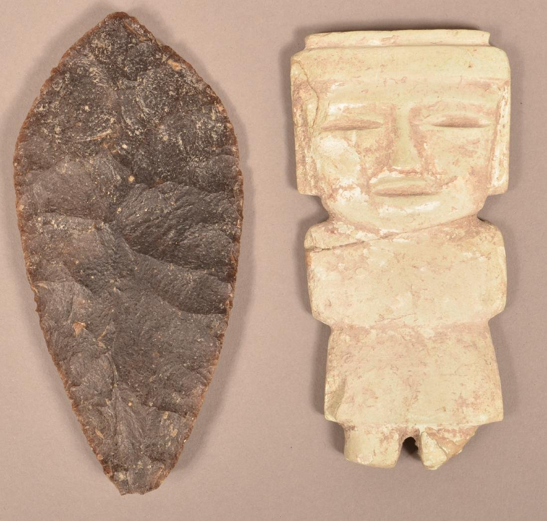 2 Mexican Artifacts - An Ancient Flint Blade and a Flat
