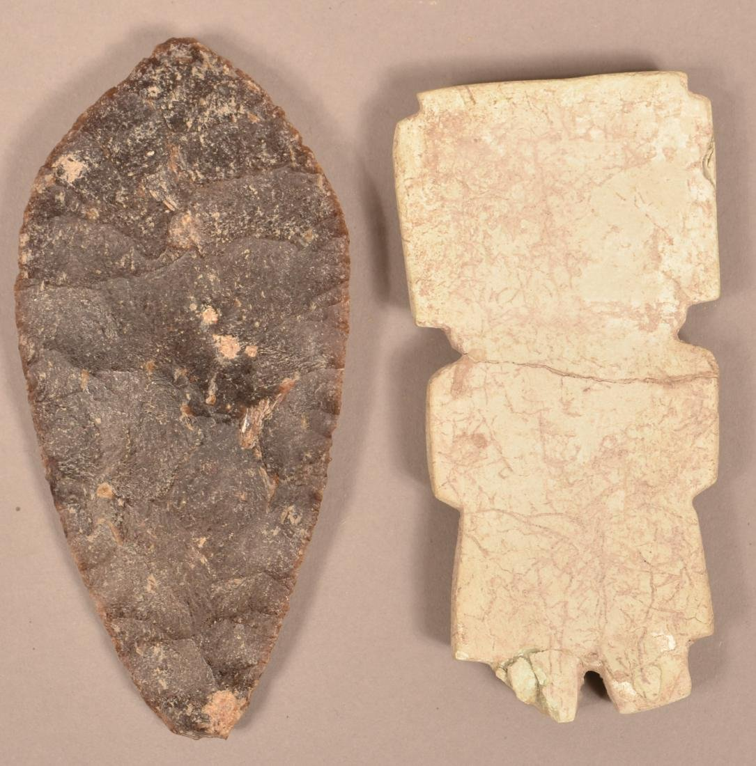 2 Mexican Artifacts - An Ancient Flint Blade and a Flat - 2
