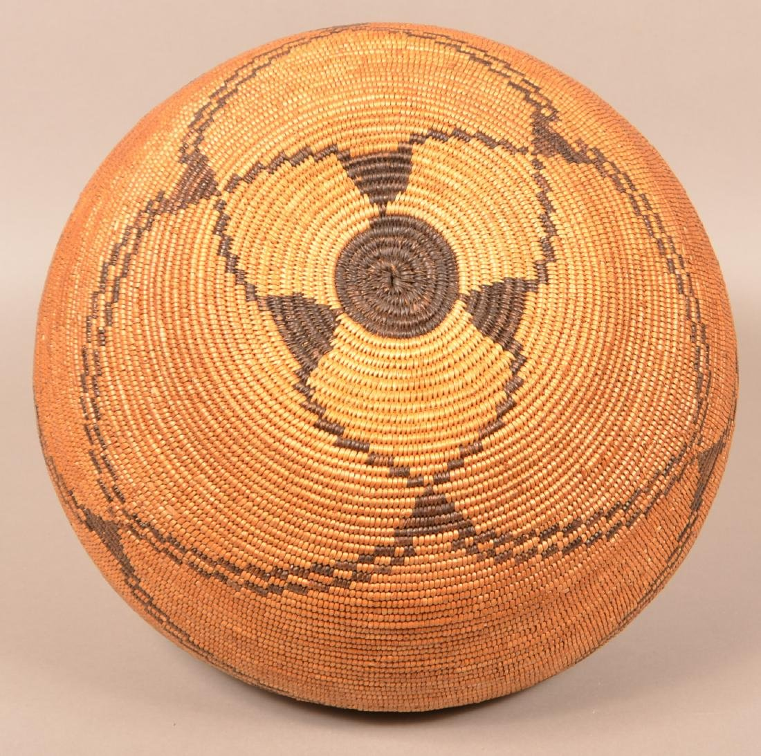 "Large Apache Coiled Basket of Split Willow and ""Devil's - 5"