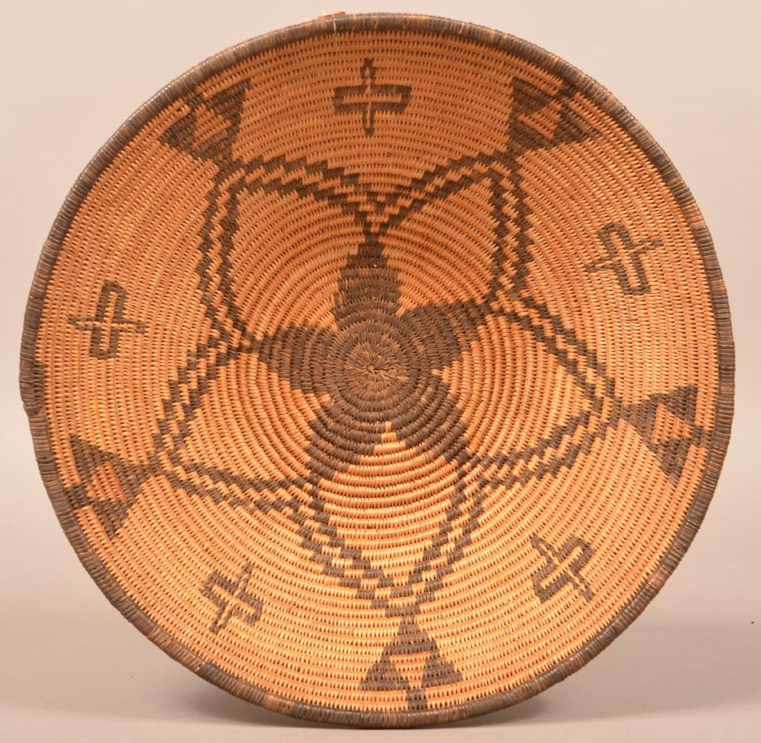 "Apache Coiled Basket, 14 1/2"" Dia. w/ a Radiating Star"