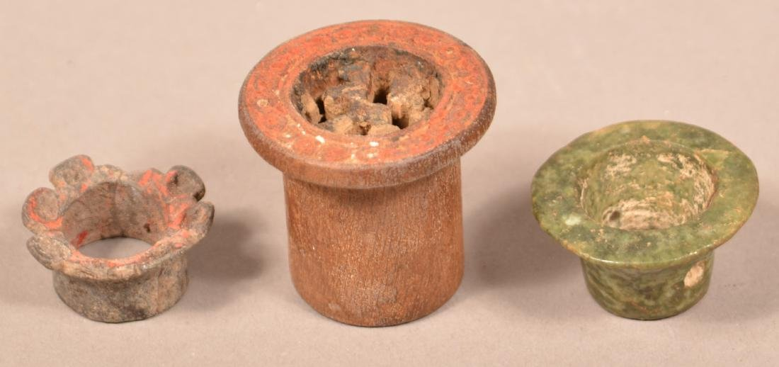 """3 Meso American/Peruvian """"Ear Spool"""" Ornaments incl."""