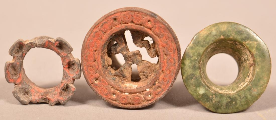 """3 Meso American/Peruvian """"Ear Spool"""" Ornaments incl. - 2"""