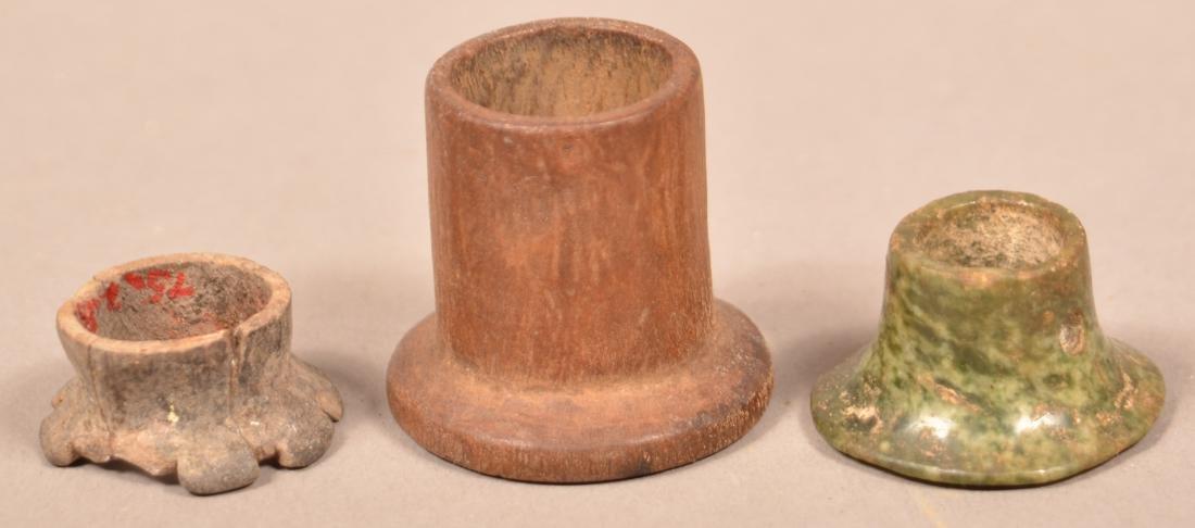 """3 Meso American/Peruvian """"Ear Spool"""" Ornaments incl. - 3"""