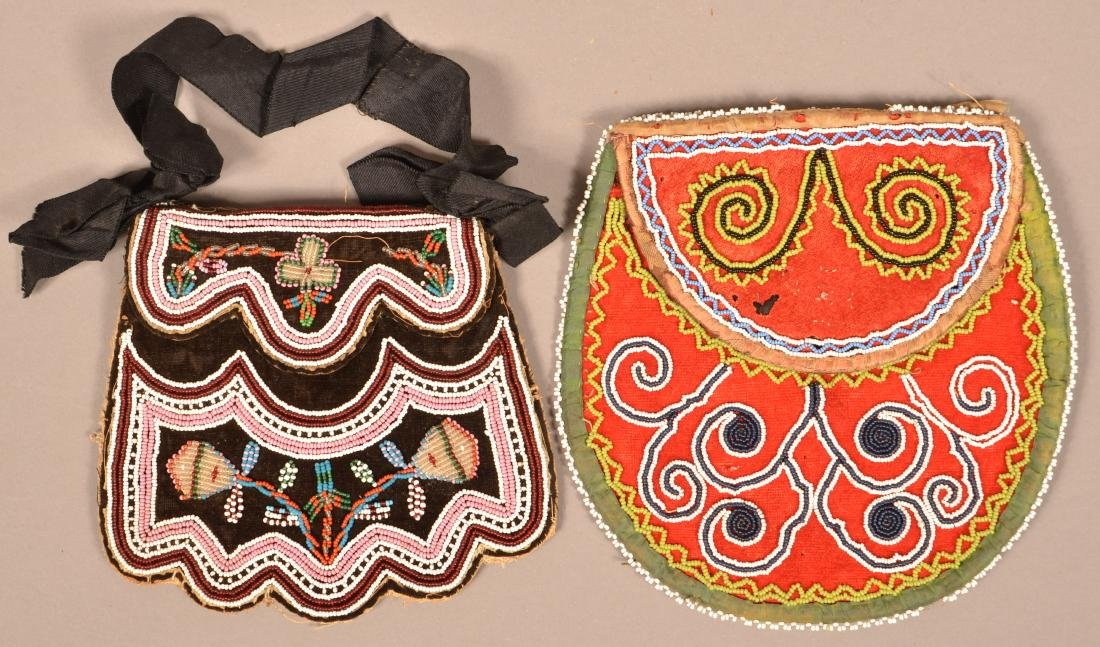 2 Mid 19th Cent. Iroquois Beaded Bags Minor Bead Loss
