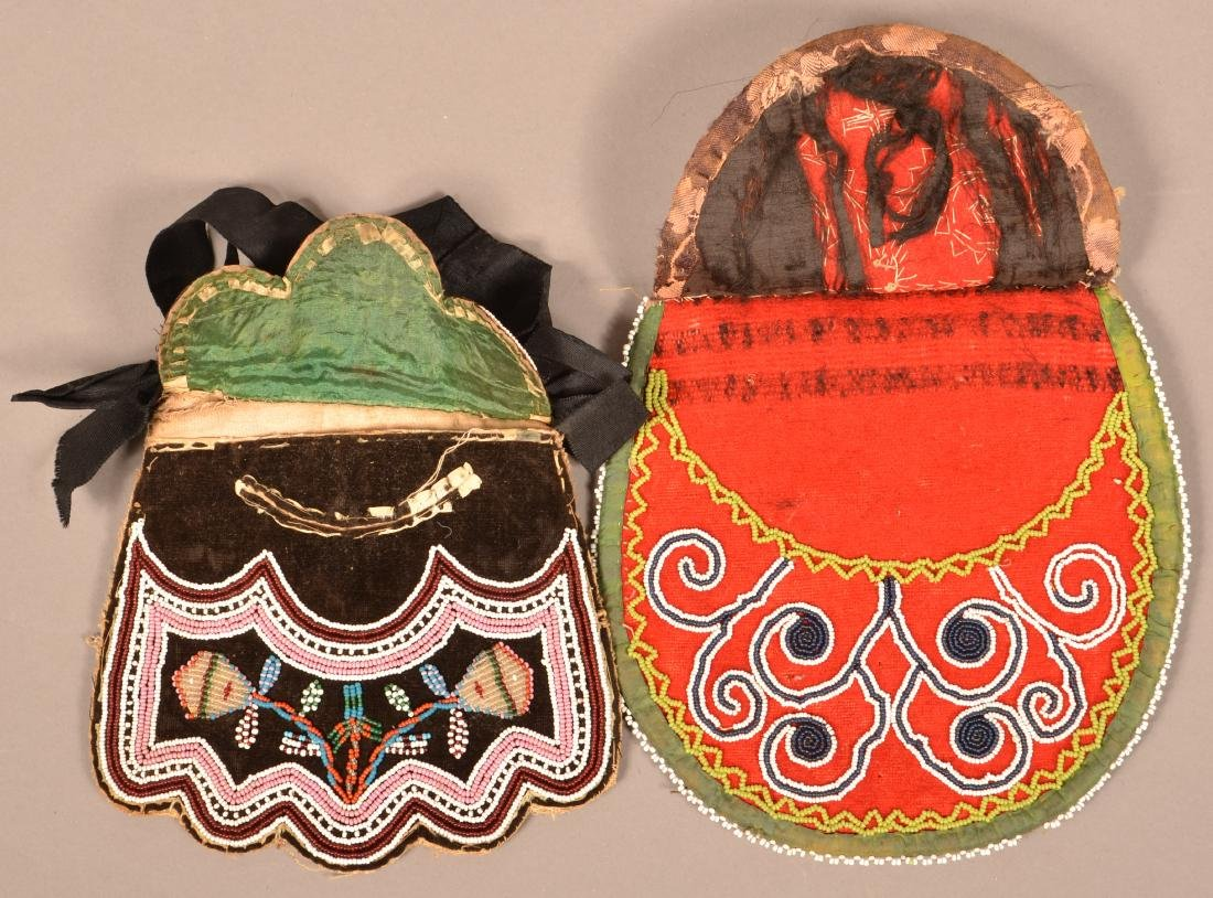 2 Mid 19th Cent. Iroquois Beaded Bags Minor Bead Loss - 2