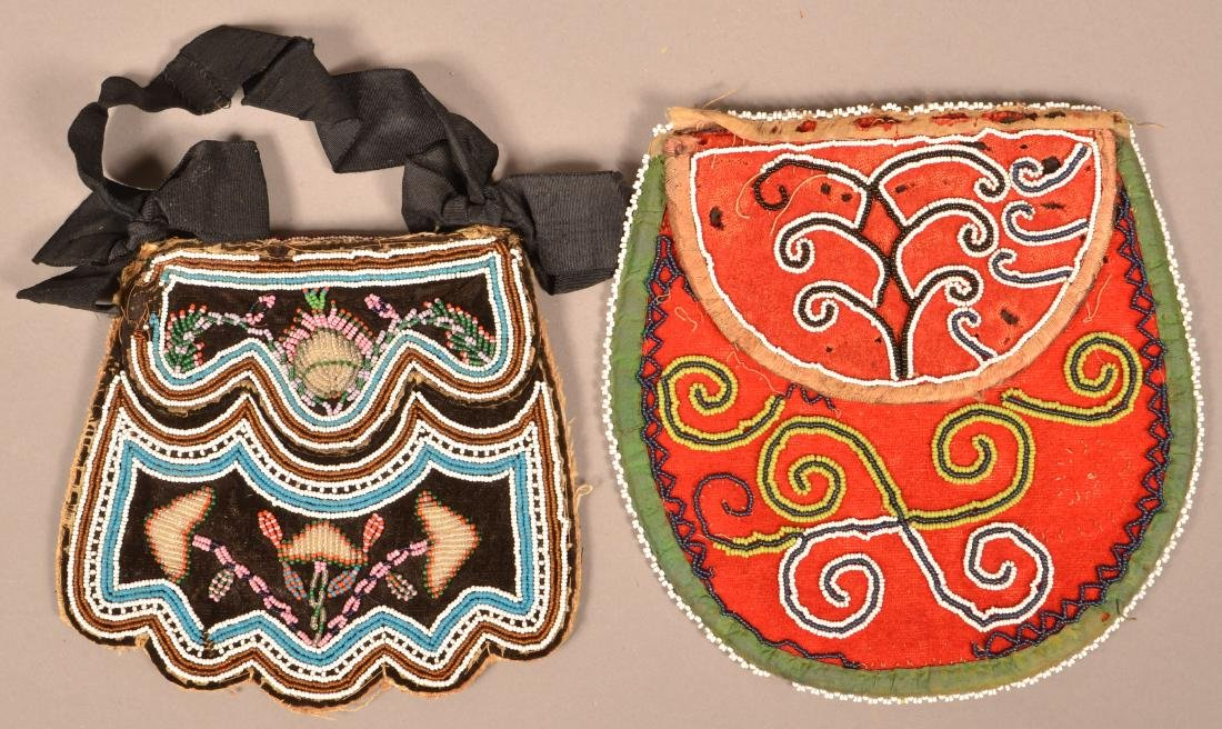 2 Mid 19th Cent. Iroquois Beaded Bags Minor Bead Loss - 3