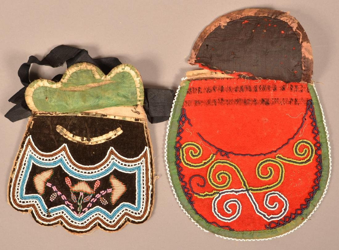 2 Mid 19th Cent. Iroquois Beaded Bags Minor Bead Loss - 4