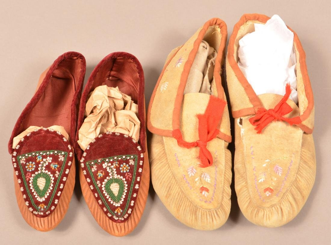 2 Pairs of Antique Huron Moccasins one w/ Moose Hair