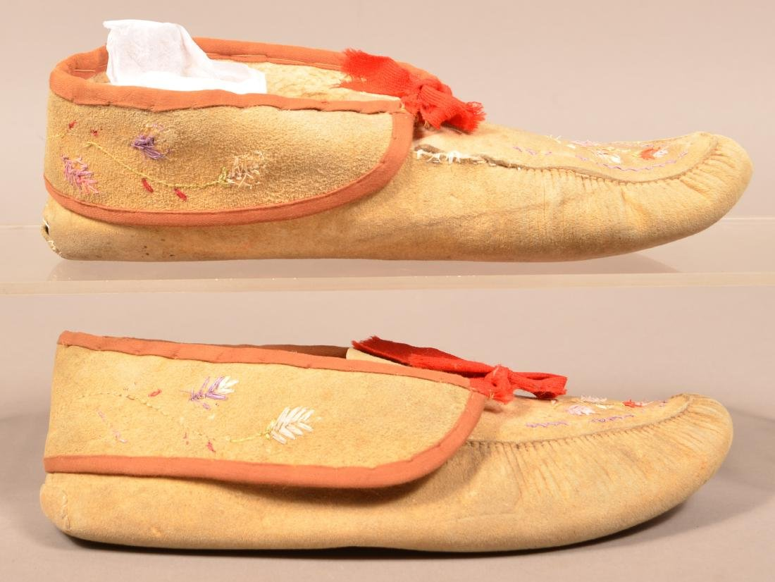 2 Pairs of Antique Huron Moccasins one w/ Moose Hair - 2