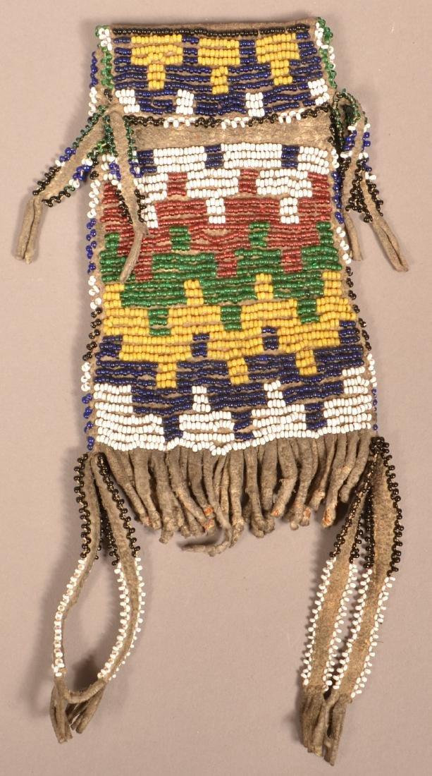 "Antique Apache Beaded Buckskin ""Strike A Lights"" Bag"