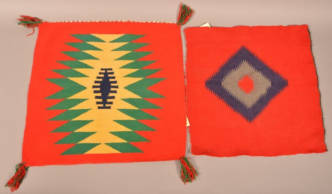 "2 Antique Navaho ""Germantown"" Wool Textiles 20"" x 19"" x"