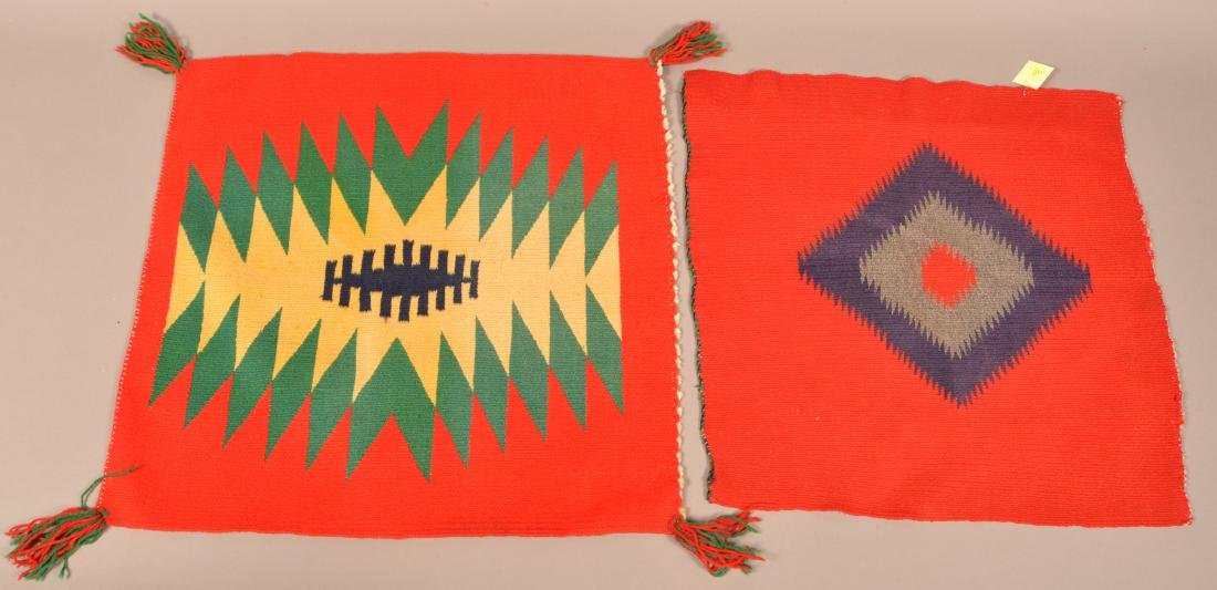 "2 Antique Navaho ""Germantown"" Wool Textiles 20"" x 19"" x - 2"