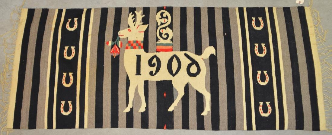 """Antique Mexican Blanket, 34"""" x 80"""" with """"1909"""" Deer"""