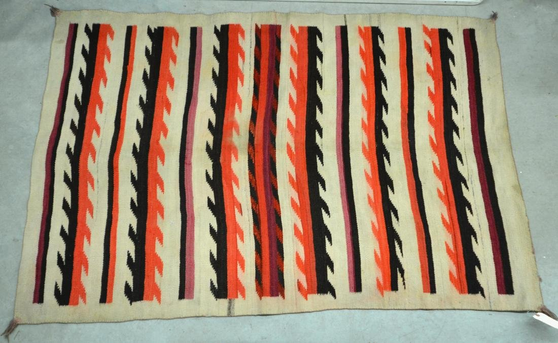 "Navajo Textile 79"" x 50"" Transitional Period w/ - 3"