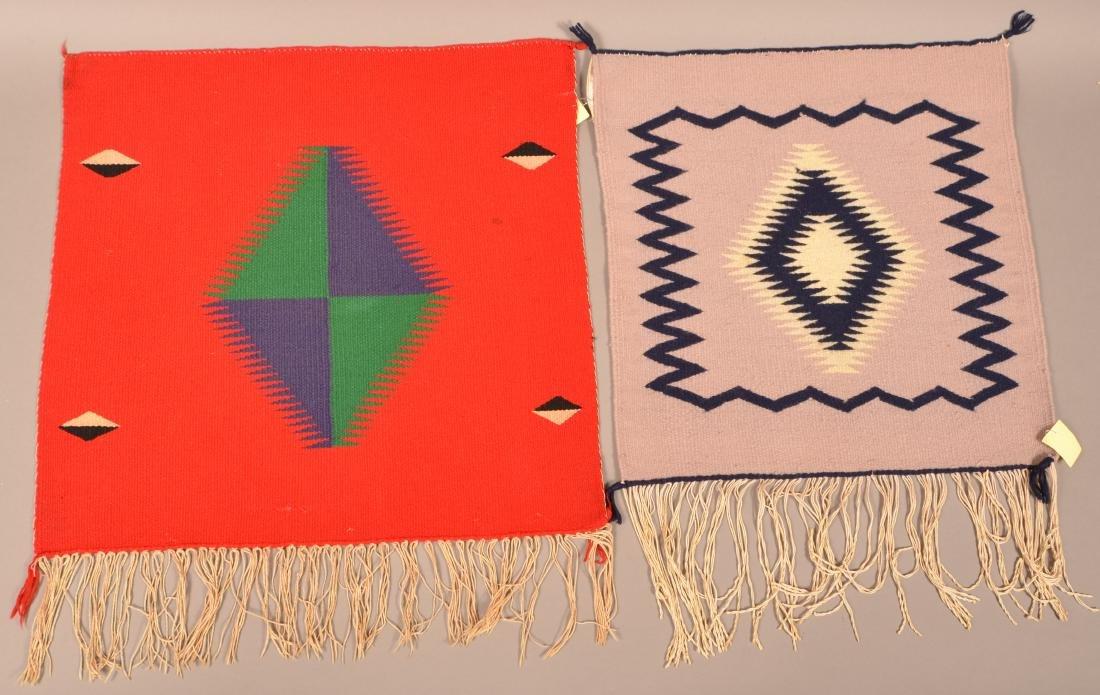 "2 Antique Navajo Textiles of Germantown Wood 20"" x 20"","