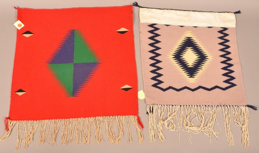 "2 Antique Navajo Textiles of Germantown Wood 20"" x 20"", - 2"