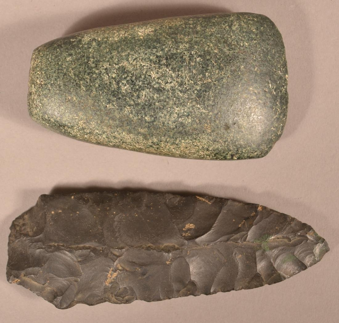 2 Prehistoric Stone Artifacts - Green Granite Celt and