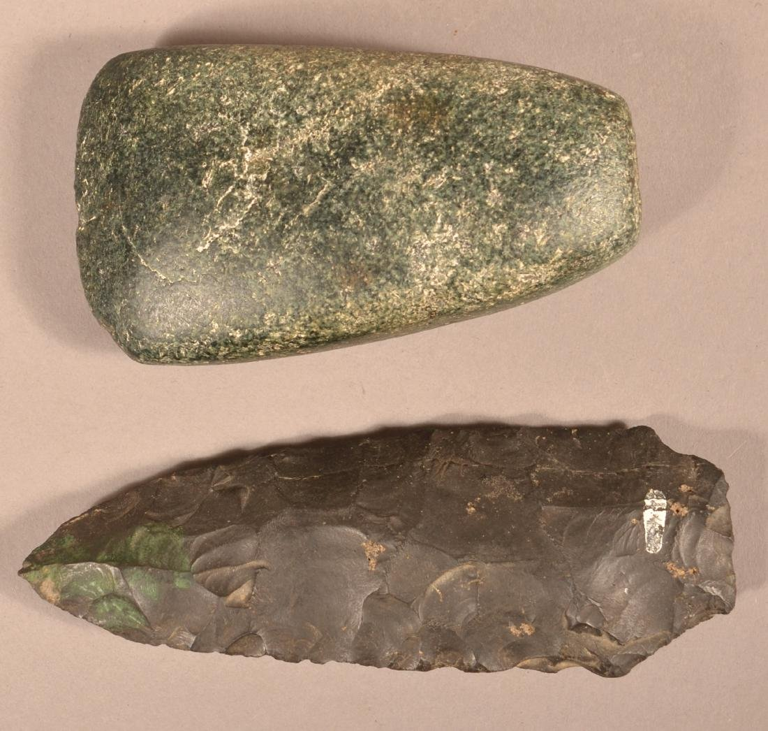 2 Prehistoric Stone Artifacts - Green Granite Celt and - 2
