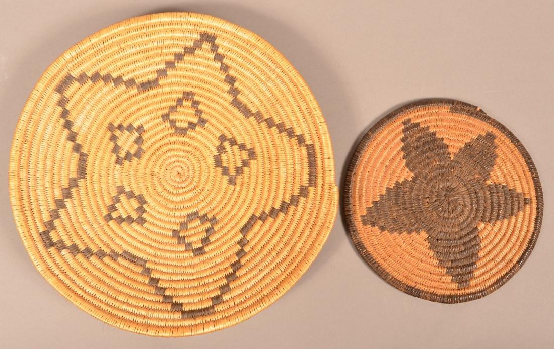 2 Apache Coiled Baskets w/ Star Motif Designs
