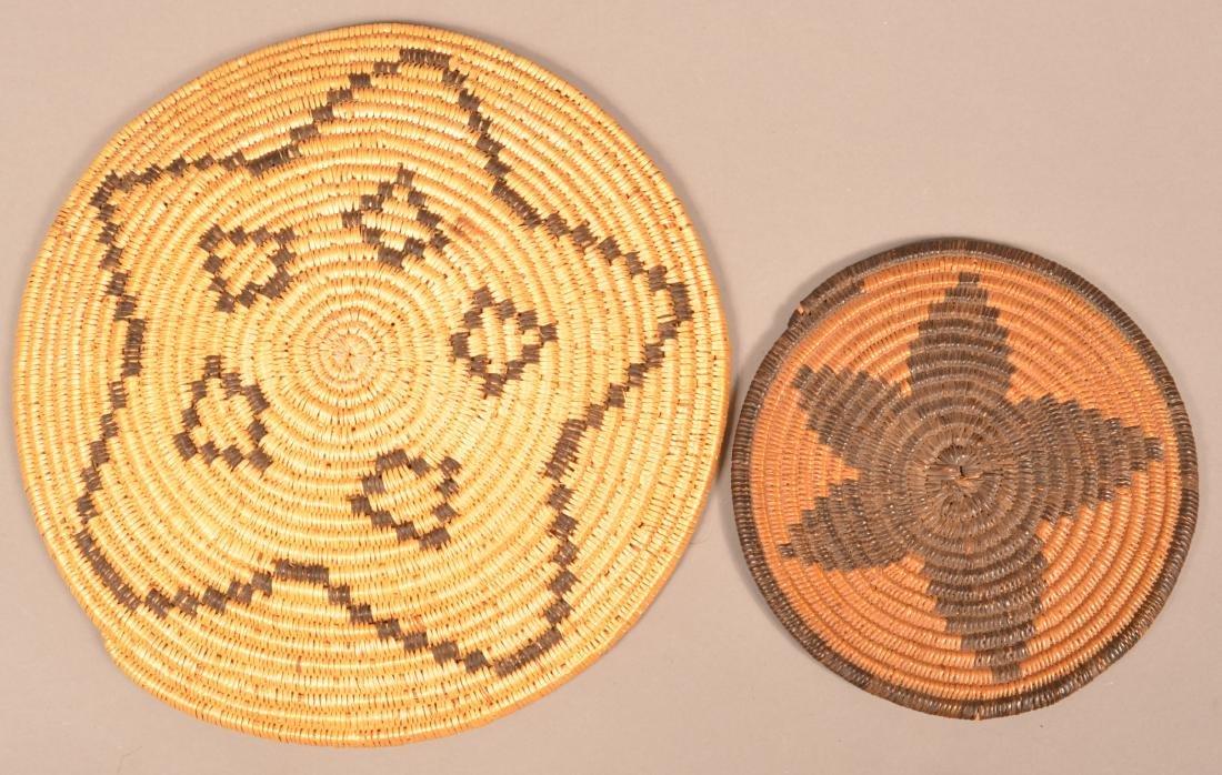 2 Apache Coiled Baskets w/ Star Motif Designs - 2