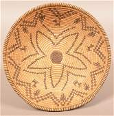 Good Apache Coiled Basket of Bowl Form w/ Human and
