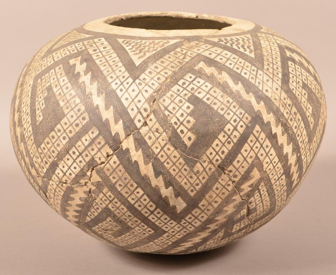 Large Anasazi Style Pot, Cracked and Expertly Mended -