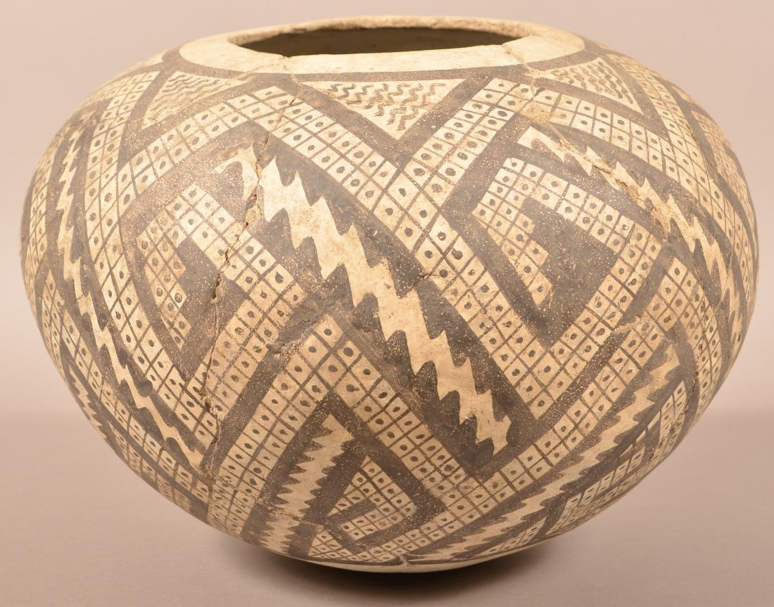 Large Anasazi Style Pot, Cracked and Expertly Mended - - 2