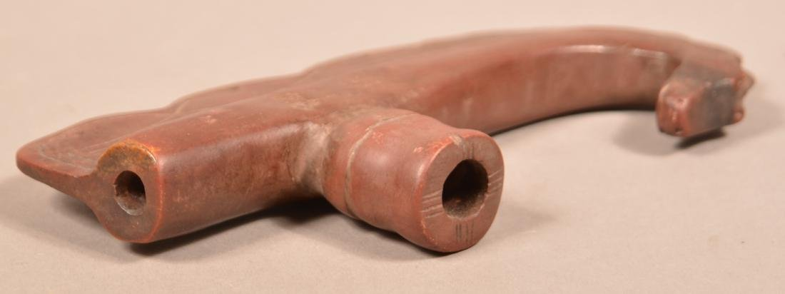 """Unusual Catlinite Pipe Bowl 7 1/2"""" Long w/a Curved and - 4"""