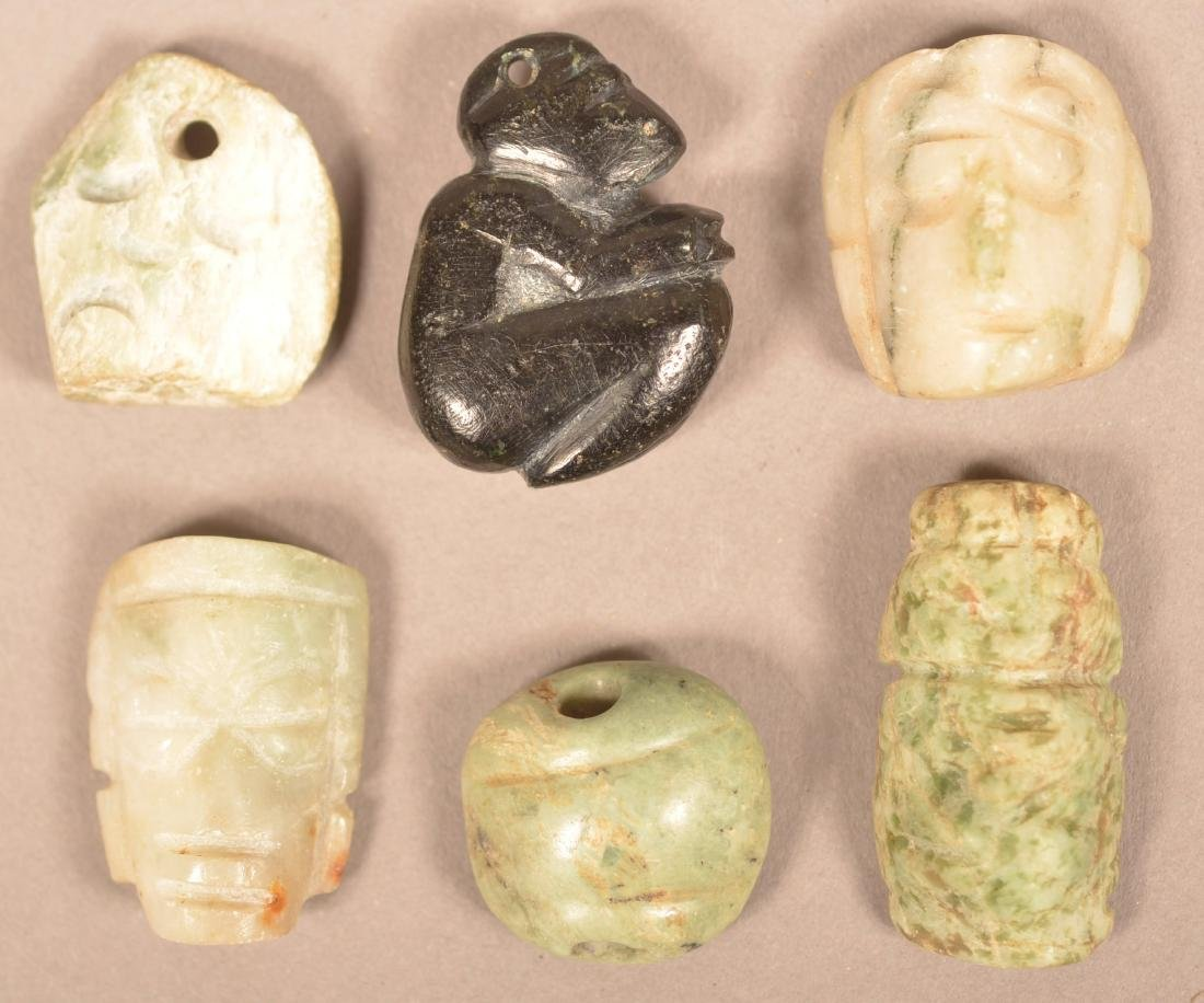 6 Central American Carved Stone Beads and Pendants