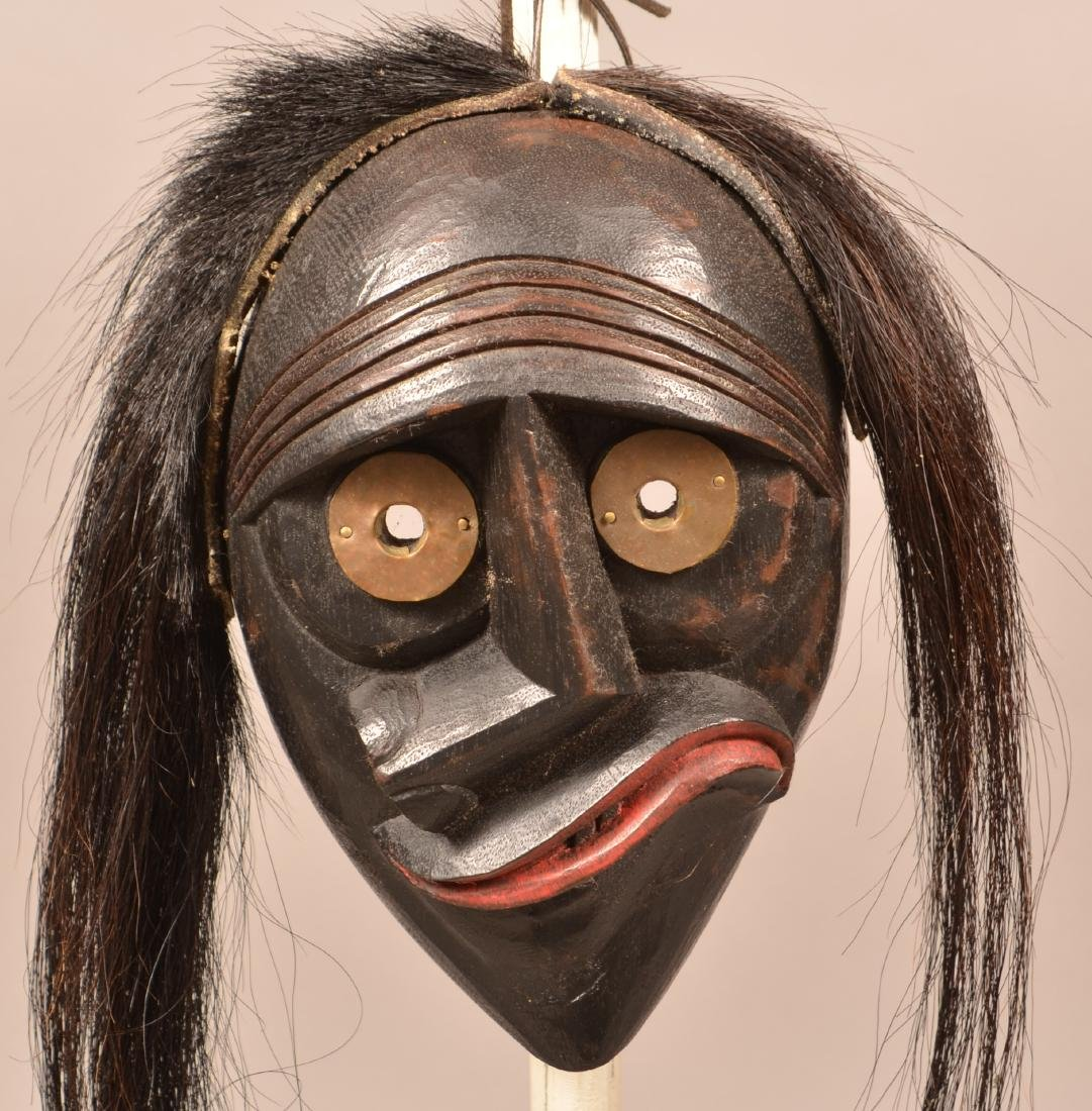 Hand Carved Iroquois Face Mask w/ Horse Hair Tresses