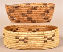 """2 Vintage Papago Indian Coiled Baskets of Oval Form 9"""""""