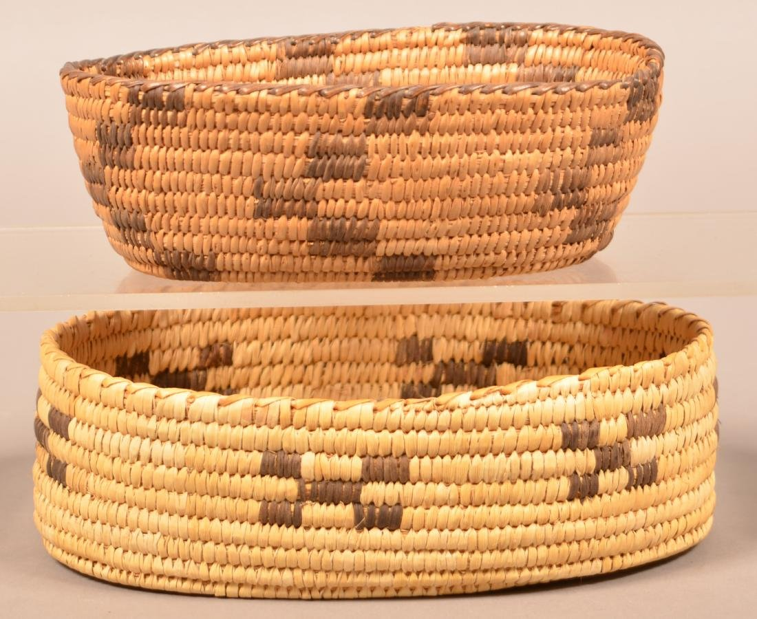 "2 Vintage Papago Indian Coiled Baskets of Oval Form 9"" - 2"