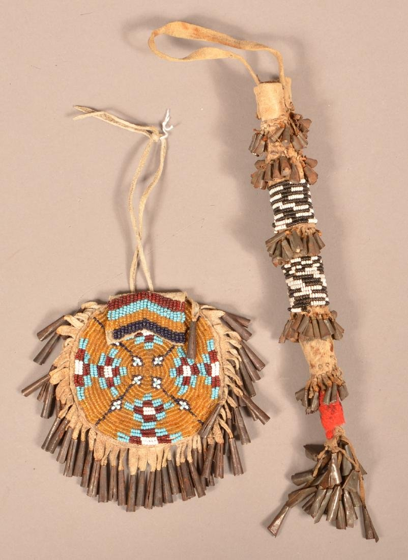 2 Antique Apache Artifacts, A Buckskin Beaded and Tin