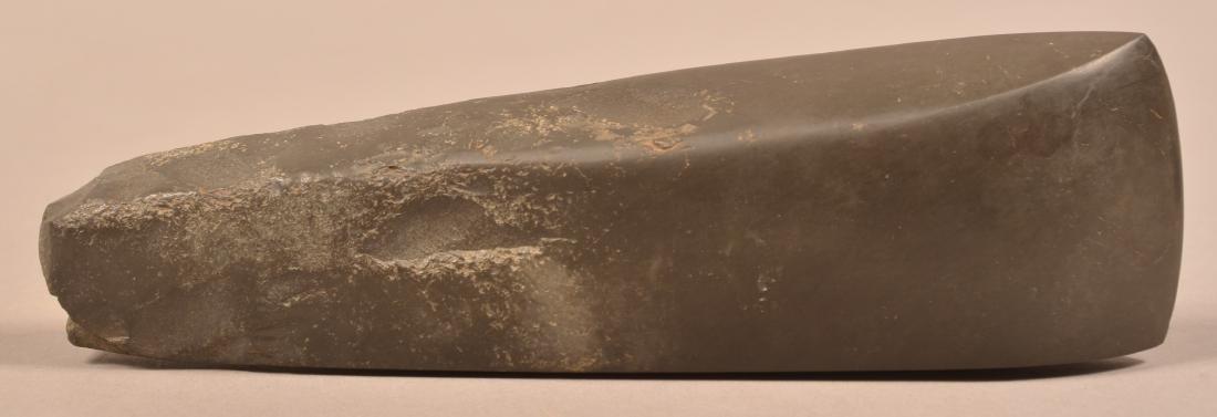 "Highly Polished Black Stone Celt, 10 1/2"" Long w/ Upper"