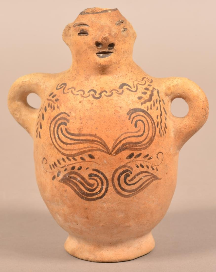 Antique Mexican Indian Figural Pottery Bottle w/ Loop