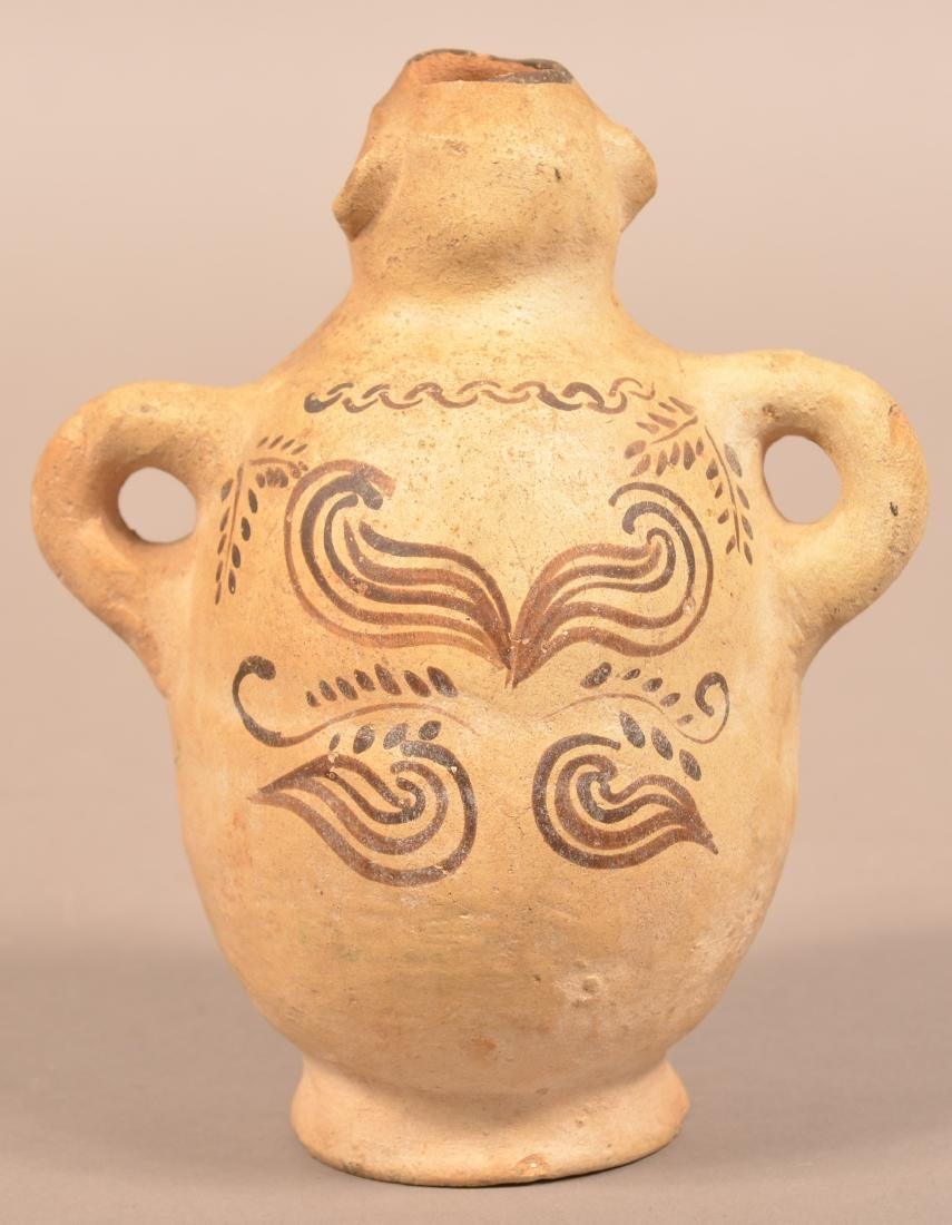 Antique Mexican Indian Figural Pottery Bottle w/ Loop - 2