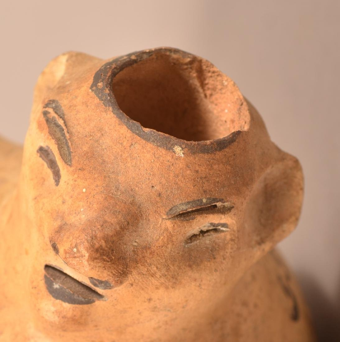 Antique Mexican Indian Figural Pottery Bottle w/ Loop - 3