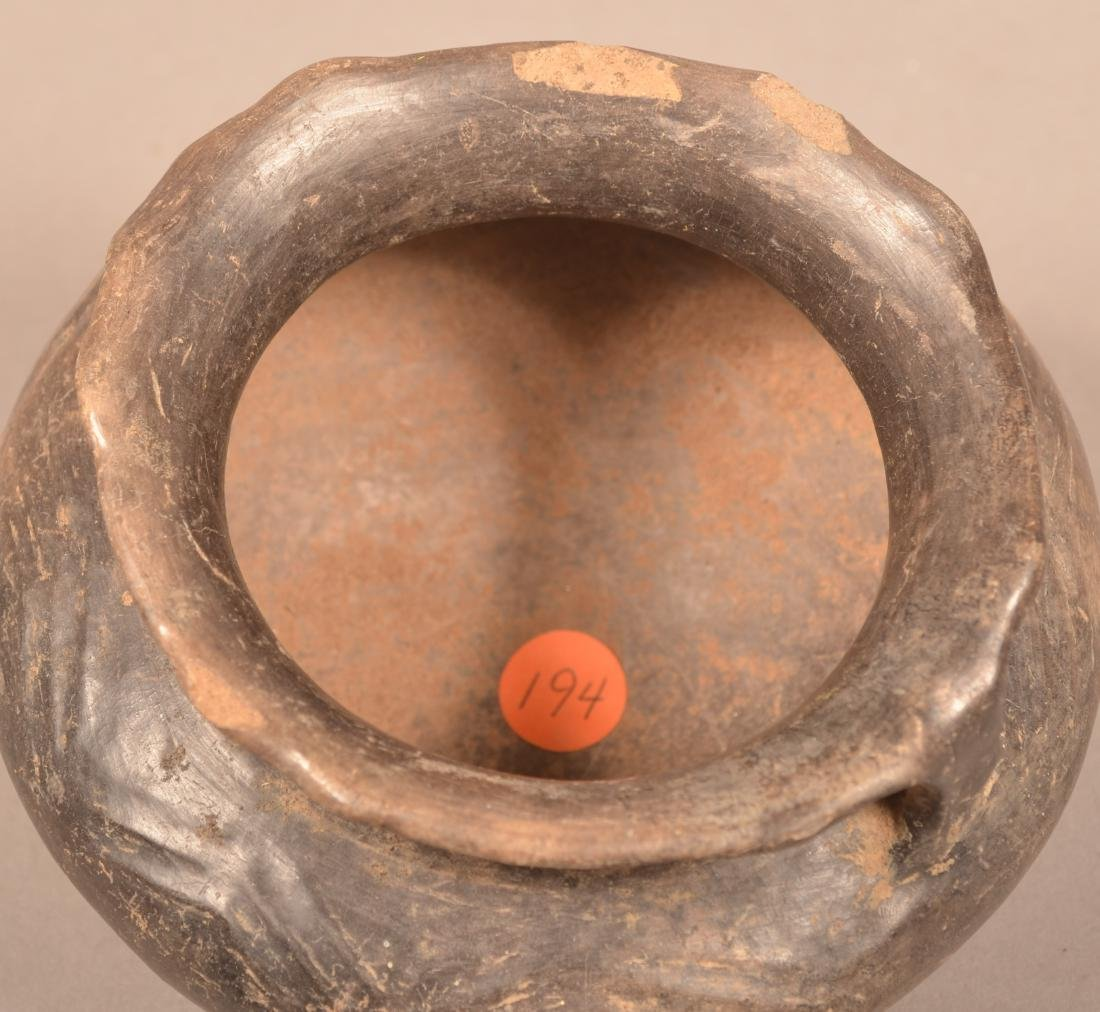"""Ancient Strap Handled Pottery Vessel 6 1/2"""" Dia. - 4"""