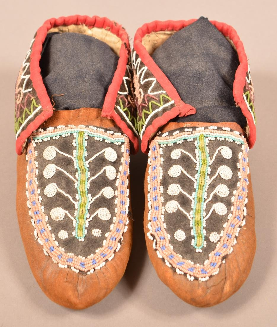 Antique Pair of Bead Decorated Mohawk Moccasins