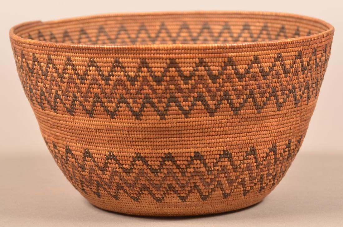 "Fine California Indian Basket 4"" x 8 1/4"" w/ Double"