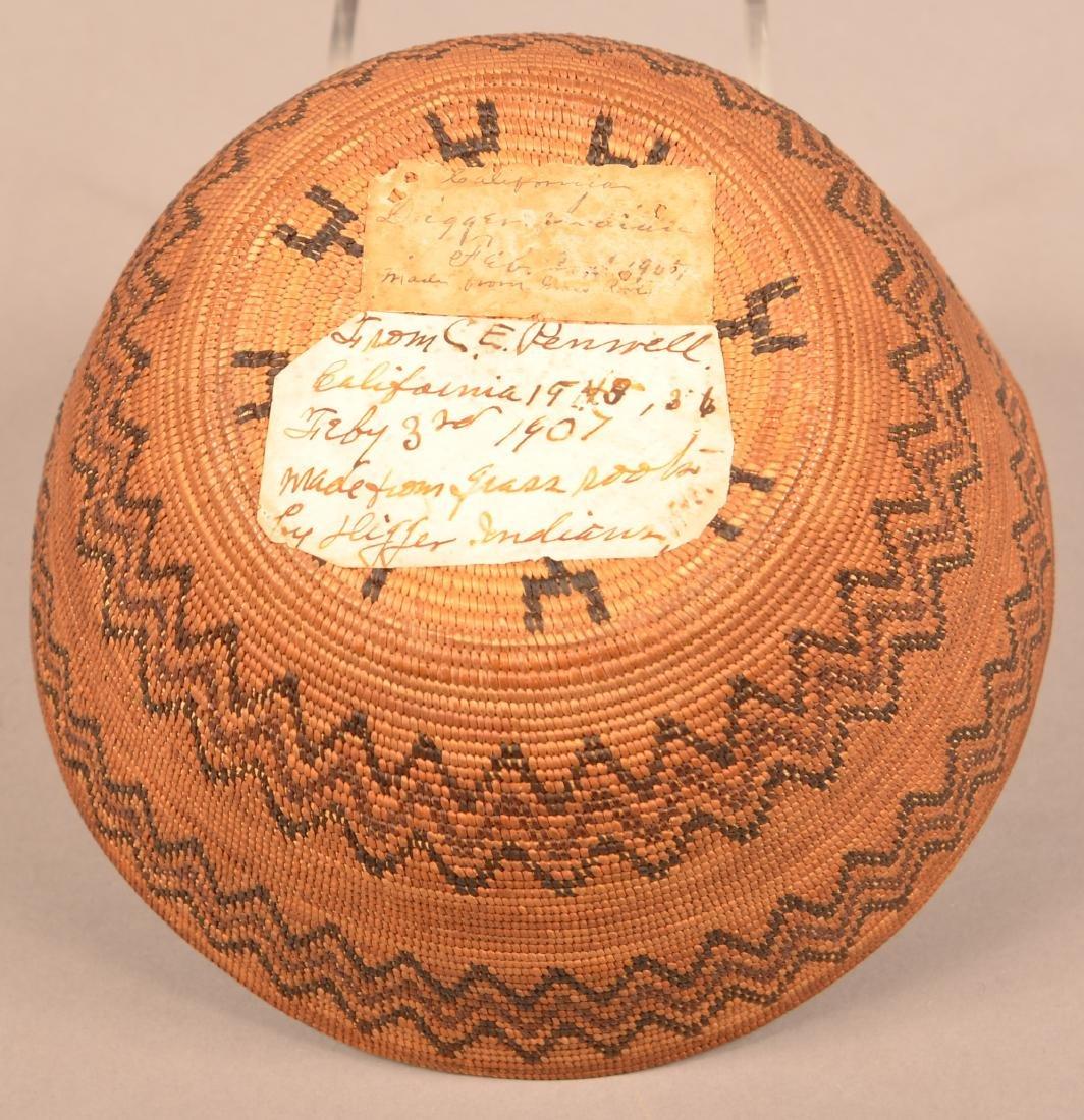 "Fine California Indian Basket 4"" x 8 1/4"" w/ Double - 4"