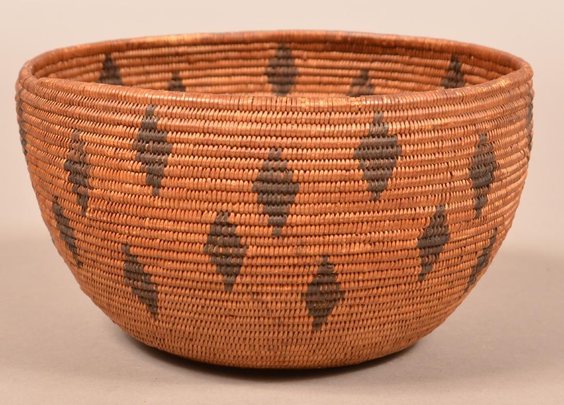 Antique California Coiled Basket Maidu Type w/ Diamond