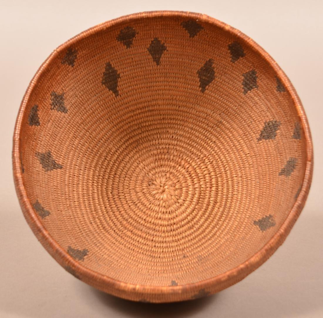 Antique California Coiled Basket Maidu Type w/ Diamond - 2