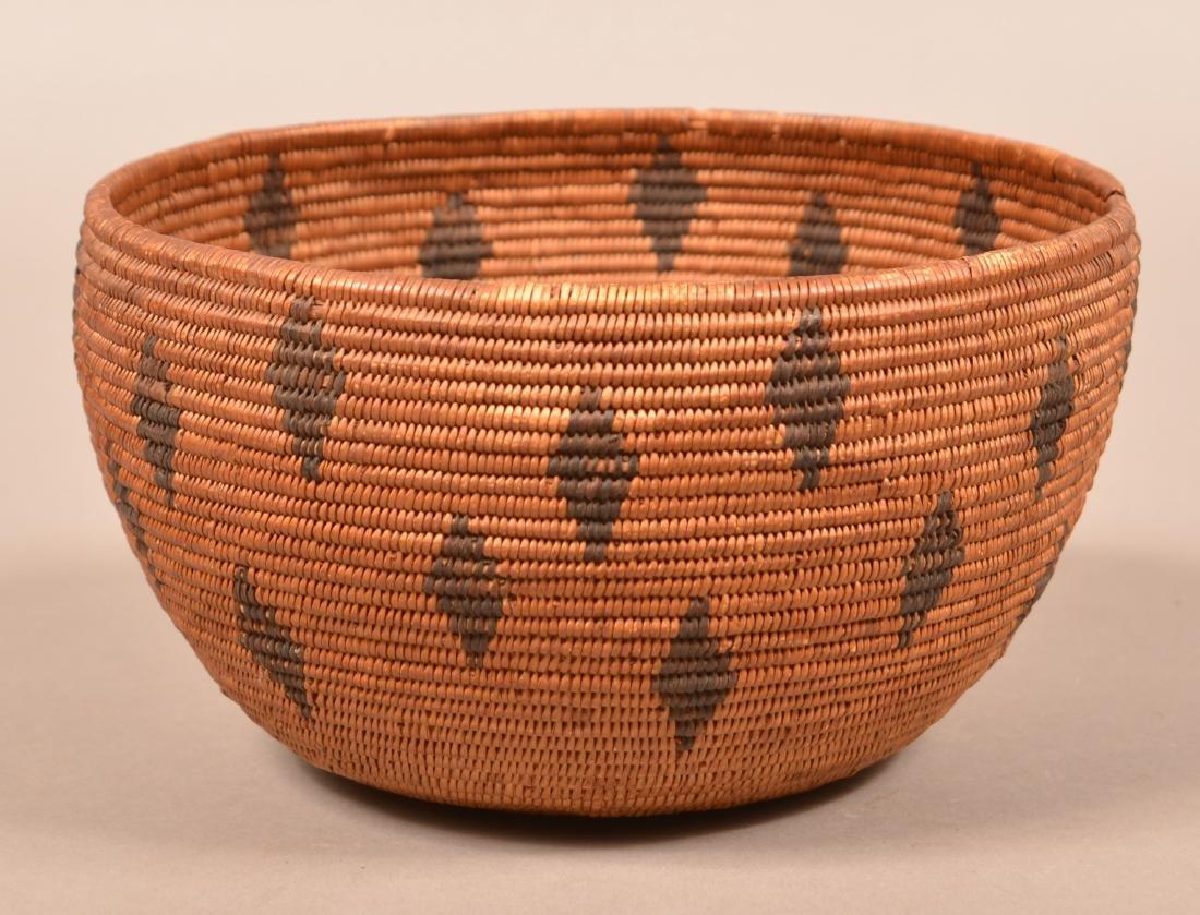Antique California Coiled Basket Maidu Type w/ Diamond - 3