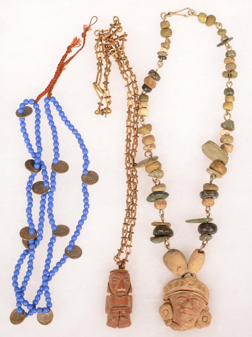 3 Necklaces - 1950's Mexican Necklace Strung w/ Ancient