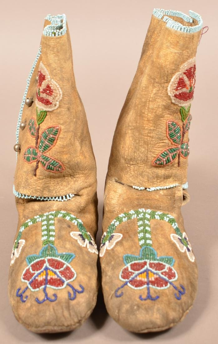 Pair of Flathead Tribal Moccasins, High Top Style w/