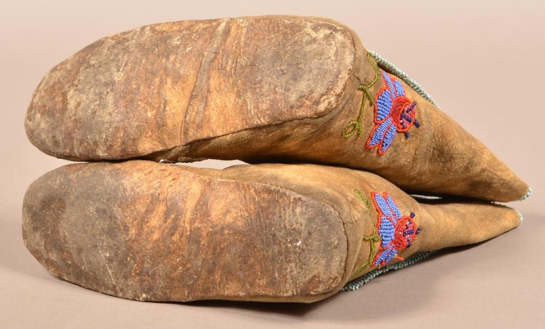 Pair of Flathead Tribal Moccasins, High Top Style w/ - 5